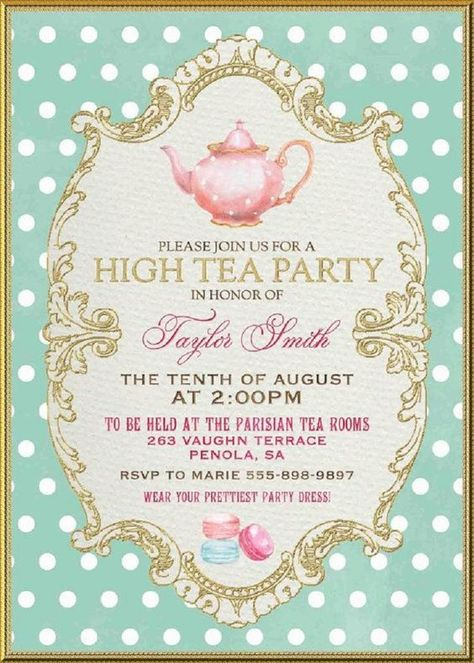tea party invitation   tea party floral invitations   rustic bridal shower invitations   baby shower tea party invitations