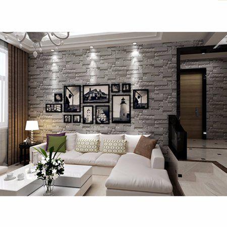 3rolls X 57sq Ft 393 7 X 21 3d Brick Stone Effect Modern Wall Paper Wallpaper Roll Vinyl For Restaurant Hotel Living Room Tv Background Decor Roll Textured In 2020 White Paneling Boho