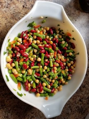 My Three Bean Salad No Sugar Recipe Food Com Recipe Three Bean Salad Bean Salad Bean Salad Recipes