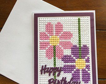 Car Birthday Cross Stitch Card Kit by Florashell