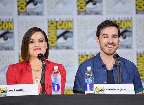 "Actors Lana Parrilla (L) and Colin O'Donoghue attend ABC's ""Once Upon A Time"" panel during Comic-Con International 2017 at San Diego Convention Center on July 22, 2017 in San Diego, California."