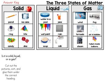 The Three States Of Matter Solid Liquid Gas Sort Worksheet States Of Matter Sorting Middle School Science Experiments
