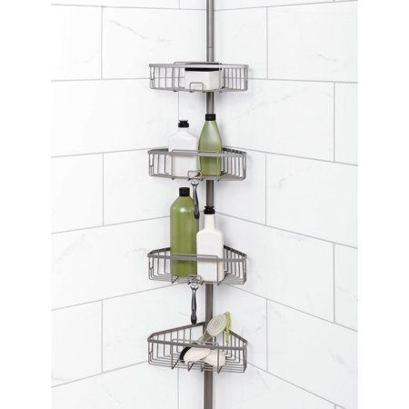 Zenna Home Tension Corner Pole Shower Caddy Satin Nickel Walmart Com Shower Caddy Corner Shower Caddy Shower
