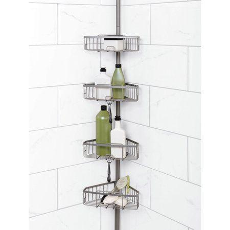 Zenna Home Tension Corner Pole Shower Caddy Satin Nickel