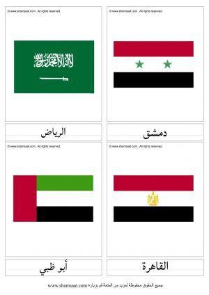 بطاقات الاعلام و عواصم الدول العربية جغرافيا للصغار Chart Bar Chart