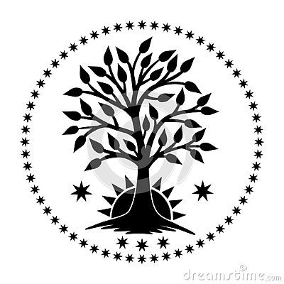 The Tree Of Life With The Rising Sun In A Circle Of Stars