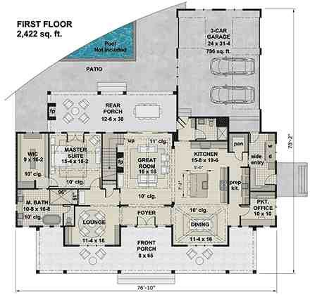 Traditional Style House Plan 42698 With 4 Bed 4 Bath 3 Car Garage In 2021 Modern Farmhouse Plans Farmhouse Plans House Plans Traditional style house plan 42698