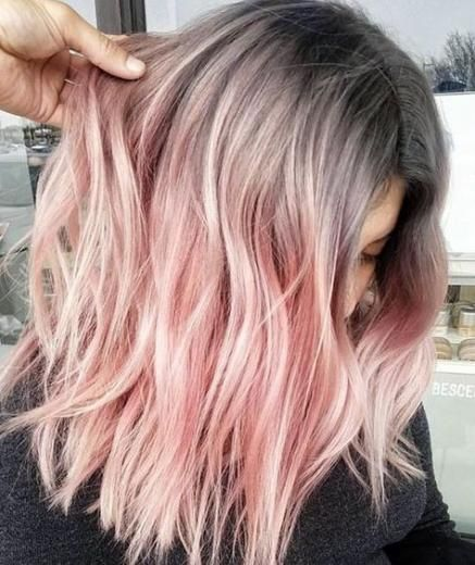 27 Trendy Hair Dark Roots Pink Rose Hair Color Pink Ombre Hair Light Pink Hair