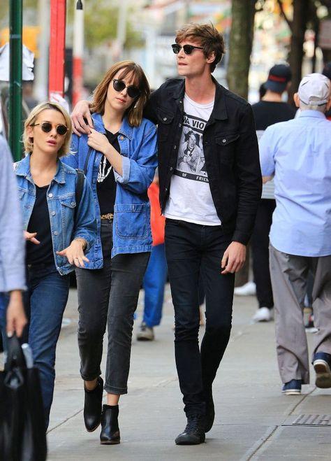 Though Dakota Johnson recently said that she's single, she and ex-boyfriend Matthew Hitt were seen getting cuddly in New York.