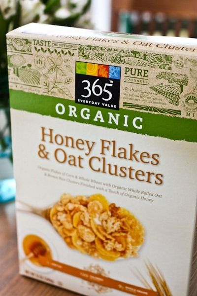 Honey Flakes & Oat Clusters cereal. I want to get this on my next trip to Whole Foods. 3/4 cup: 1 g fat, 120 calories, 5 g sugar, 105 mg sodium, 25 g carbs, 3 g protein, and 2 g fiber.