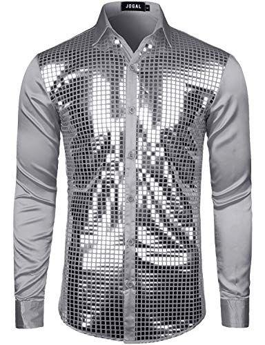 Men/'s Shirts Tops Nightclub Show Sequin Lapel Long Sleeve Button Down SHIRT