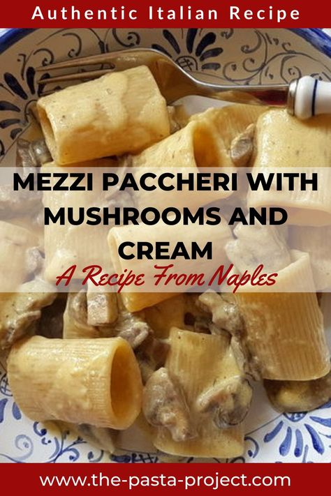 Are you looking for a delicious and creamy meatless pasta recipe? Here's a super tasty authentic Italian recipe from Naples. This dish is made with mushrooms, cream, butter, eggs and Parmigiano. It's easy to make and perfect for any week night with your family and friends. Bring a taste of Southern Italy to your table . #italianpasta #italianpastarecipe #traditionalrecipe #mushroom #mushroomrecipe