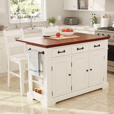 August Grove Hewish Kitchen Island Set In 2021 Country Kitchen Island Large Kitchen Island Country Kitchen