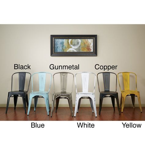 Vintage Antique Finish Modern-style French Sheet Metal Cafe and Bistro Armless Chairs (Set of 4) | Overstock.com Shopping - Great Deals on O...