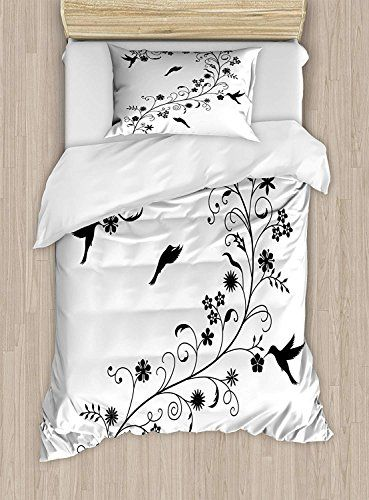 Yeho Art Gallery King Bedding Sets Black And White Duvet Cover Set Victorian Curves Swirls With Bird Duvet Cover Sets White Duvet Covers Twin Size Duvet Covers