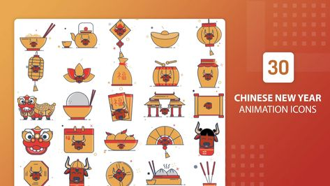 30 Animated Chinese New Year Icons - After Effects Template