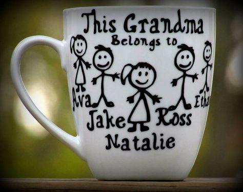 Personalized Grandma / Grandpa Coffee Mug- 1 mug only  This grandma belongs to.. Customized grandma gift, custom grandpa gift, Grandparents