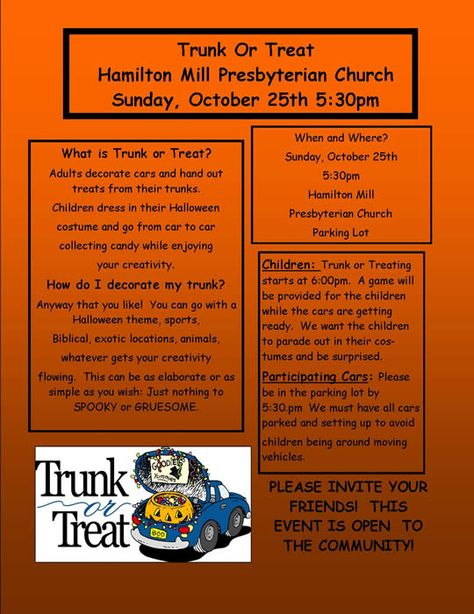 Trunk or Treat Halloween Event Flyer by jjinspirationstudio church - halloween decorated cars