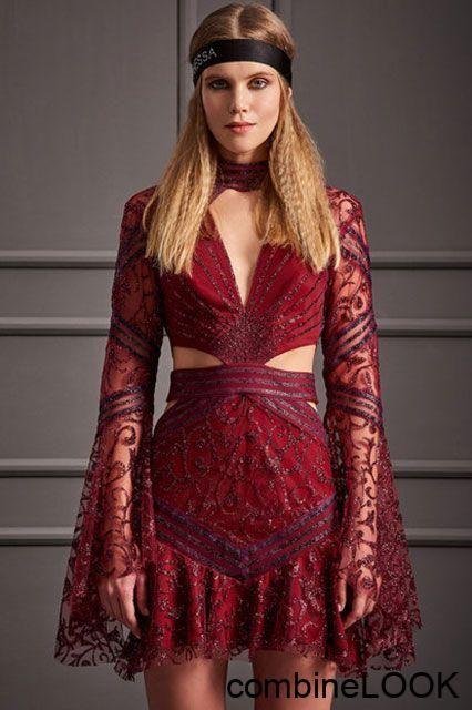 2018 Gece Elbiseleri Kirmizi Kisa V Yakali Uzun Kollu Dantelli Raisa Vanessa For Trendyol 499 Tl Dantelli Elbiseleri Gece Ki 2020 Elbise Kiyafet Elbise Modelleri