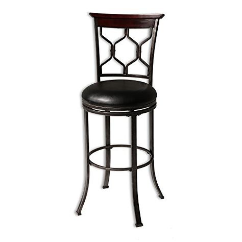 Tallahassee Metal Counter Stool With Black Upholstered Swivelseat