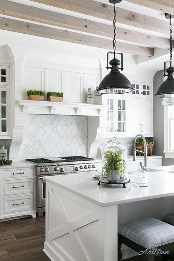 Bleached Ceiling Beams Beams Are Rough Cedar And Then White Grey Washed In Recessed Space Interior Design Kitchen Home Decor Kitchen Kitchen Remodel Layout