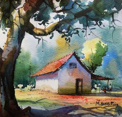 Amazing Watercolor Paintings By Indian Artist Mahesh Honule Watercolor Landscape Paintings Watercolor House Painting Scenery Paintings