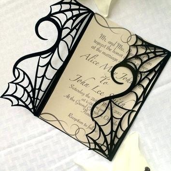 Free Printable Halloween Wedding Invitations Spider Web Wedding Invitation Ki Halloween Wedding Invitations Masquerade Halloween Party Halloween Themed Wedding