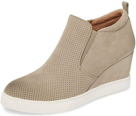 c478098d214a Amazon.com  Womens Wedge Platform Sneakers Ankle Booties Heel Zipper Faux  Leather Comfort Casual Shoes  Clothing