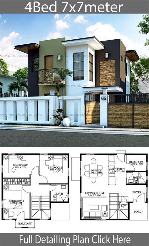 House Plans 17x18m With 4 Bedroom Style Modern Terrace In 2021 Duplex House Design Architectural House Plans House Construction Plan Simple modern house plan
