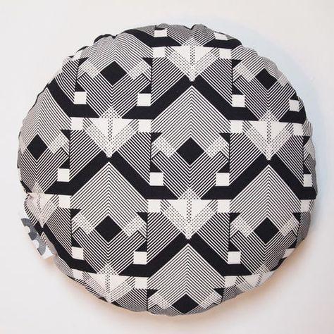 Geo-Graphica Black Round Cushion by B-Goods / Huddle Formation Creative Studio, Stand M13, Hall T3-C, Tent London 2015www.b-goods.com & www.huddleformation.com
