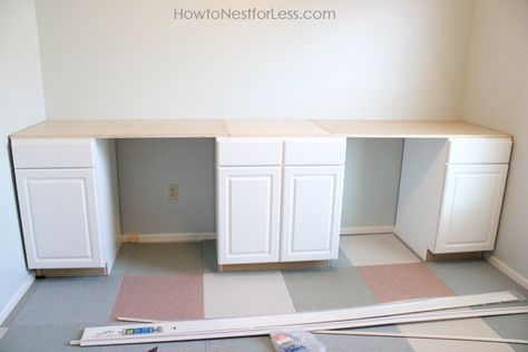 Diy Craft Room Desk Tutorial 10 Ft Wide Double Desk Custom Built And Finished With Cool Detailing All V Diy Craft Room Desk Diy Crafts Desk Diy Craft Room