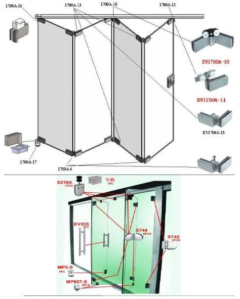 Stainless Steel Glass Folding Door Fitting Or Glass Door Accessories - Buy Glass Door Accessories,Folding Door System,Folding Door Fitting Product on Alibaba.com