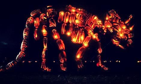 Dinosaur made out of pumpkins!