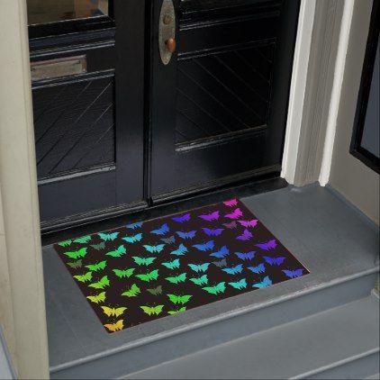Black Bright Shiny Butterflies Exclusive Doormat Zazzle Com Door Mat Personalized Door Mats Christmas Doormat