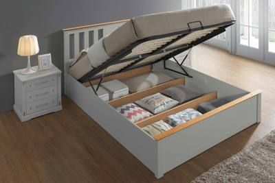 Chester White Oak Ottoman Storage Bed Frame 5ft King Size In