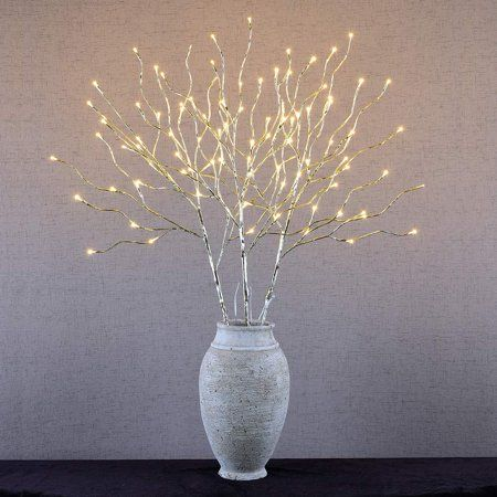 Branch Lights Natural Curly Willow Clear Rice Lights Plug In Silver 39 In Clear Wires 5 Branches Rice Lights Curly Willow Lighted Branches