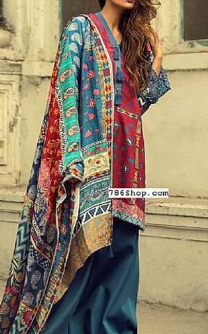 Red/Blue Raw Silk Suit | Buy Zara Shahjahan Pakistani Dresses and Clothing online in USA, UK