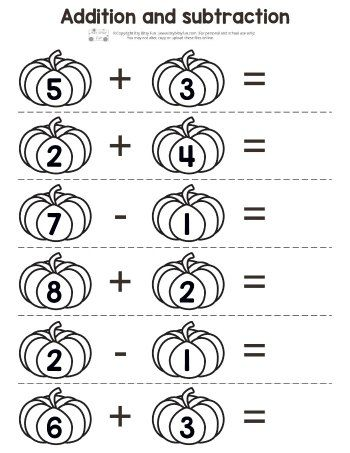 Pumpkin Addition And Subtraction Worksheets Addition And Subtraction Worksheets Kindergarten Addition Worksheets Halloween Math Worksheets Pumpkin math worksheets kindergarten