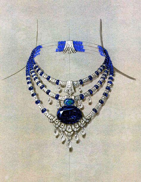Dessin de collier Cartier