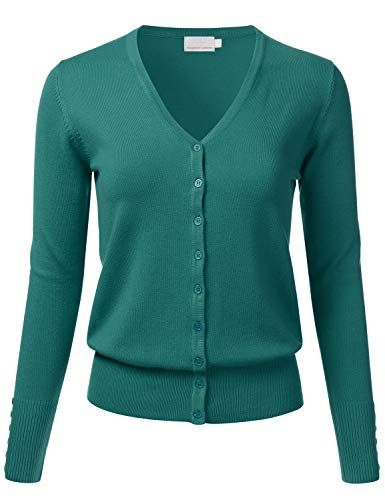S-3X FLORIA Womens Button Down 3//4 Sleeve V-Neck Stretch Knit Cardigan Sweater