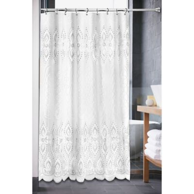 Monaco Shower Curtain In White Curtains White Shower Home Decor