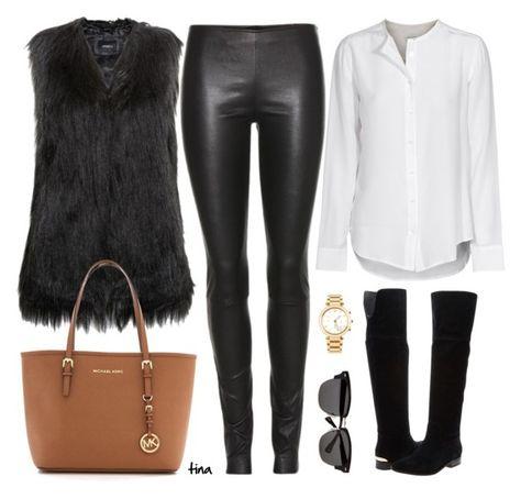 "Fashion designers, shoes and bags for women ""Black Fur Vest"" by matu .- Stilisti, scarpe e borse da donna Fur Vest Outfits, Leather Leggings Outfit, Mode Outfits, Fashion Outfits, Fashion Trends, Black Fur Vest, Leather Jeans, Urban Chic, Look Fashion"
