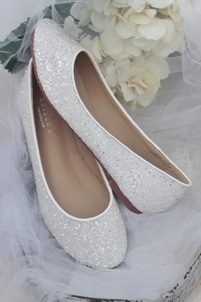 White Rock Glitter Slip On Flats In 2020 Bridesmaid Shoes Wedding Shoes Bride White Bridal Shoes