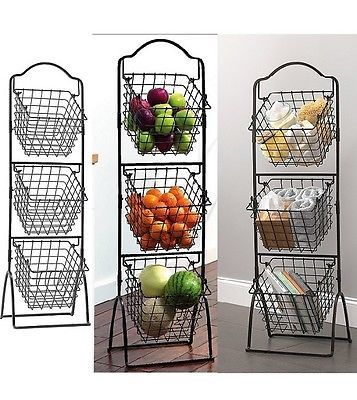 3 Tier Fruit Basket Decorative Metal Vegetable Stand Scroll Wire Kitchen Storage Vegetable Rack Traditional Kitchen Decor Kitchen Baskets