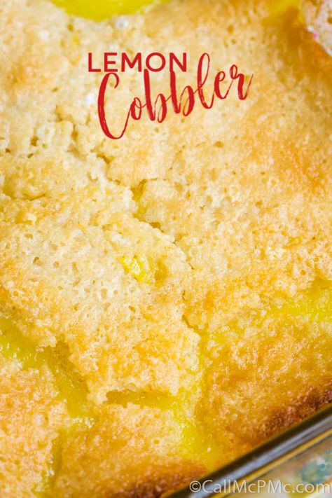 Easy Lemon Cobbler is a simple recipe that takes just minutes to prepare. It's bright, bold, sweet, and tart and you'll love every bite of this lemony dessert. #homemade #cobbler #dessert #recipe #easy #cake #buttermilk