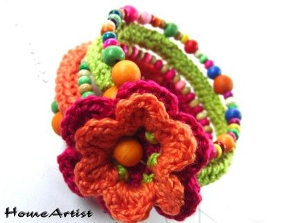 Crochet and beads bracelet - inspiration