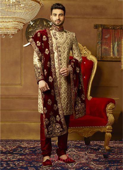 Cream Art Banarasi Silk Embroidery Work Wedding Wear Designer Mens