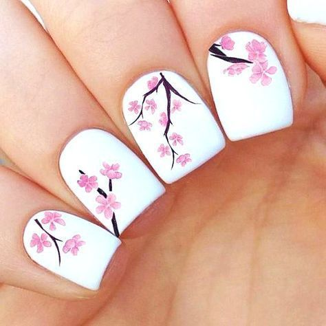 Cherry Blossom Nails Cherry Blossom Nails April Nails Pink Ombre Nails