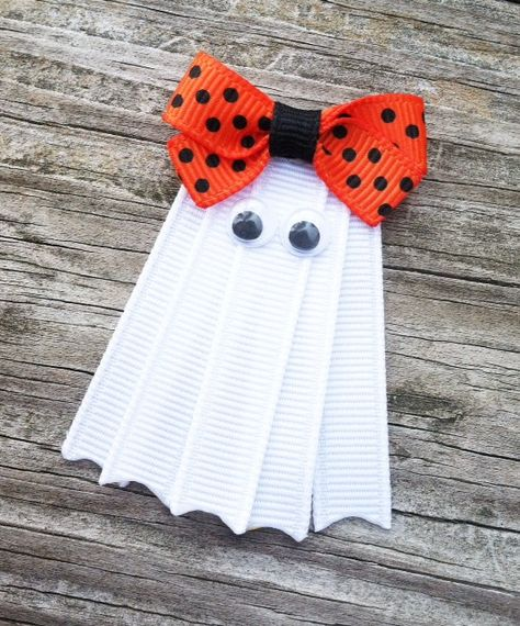 Ghost Hair Clip Halloween Hair Clip White Ghost Ribbon Hair Clip Fall Hair Clip Girls Hair Bows White Ghost with Orange Bow Hair Clip Ribbon Hair Clips, Diy Hair Bows, Diy Bow, Ribbon Bows, Ribbons, Halloween Hair Clips, Halloween Ribbon, Halloween Crochet, Ribbon Sculpture