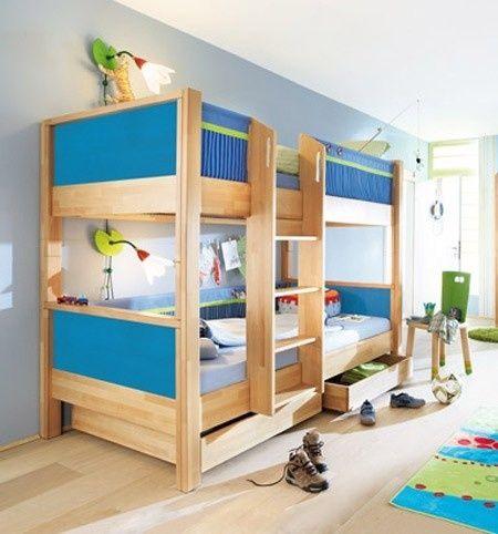 Matti Etagenbett Buche Mit Blauer Stoffverkleidung Bett Ideen Etagenbett Bett